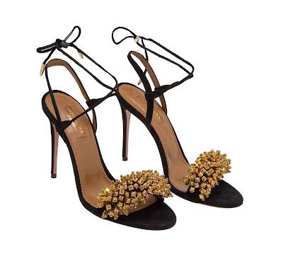 Aquazzura Monaco Suede Sandals in Black