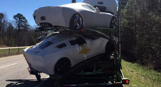 Brand New Corvettes, Including Z06, Damaged After Transporter Rubs Shoulders With Another Truck