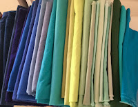 Mostly blue and green fabrics