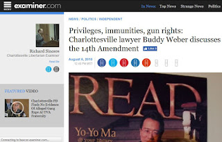 Examiner.com Yo-Yo Ma read Second Amendment Buddy Weber Charlottesville attorney law