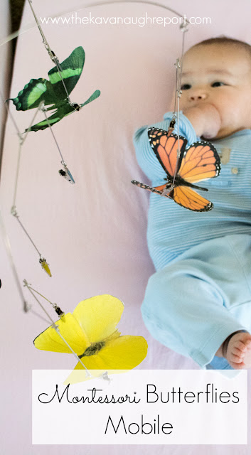 The Montessori inspired butterflies mobile is perfect for older newborns. The beautiful realistic images are perfect for visual tracking skills for Montessori babies.