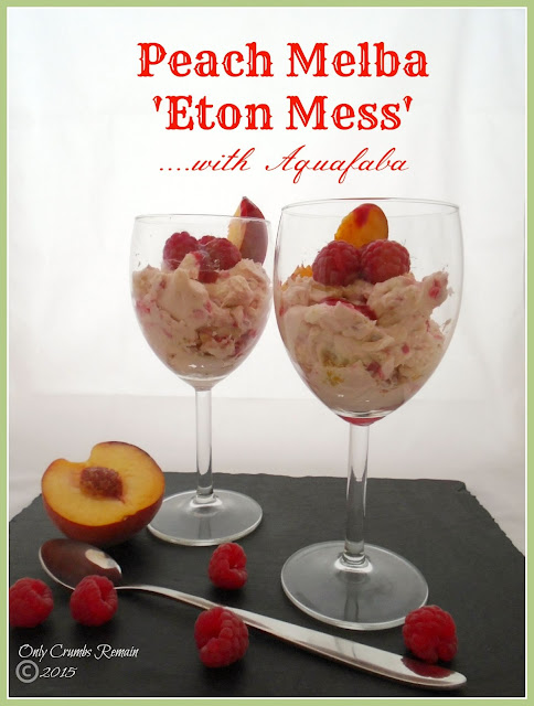 Peach melba 'Eton Mess', with Aquafaba