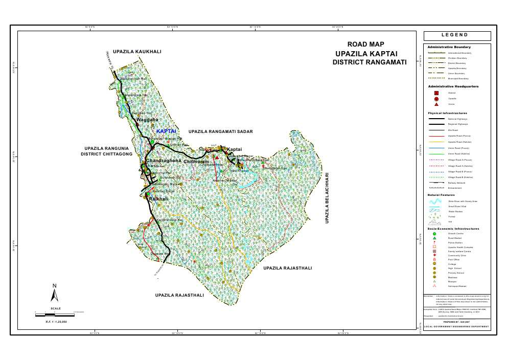Kaptai Upazila Road Map Rangamati District Bangladesh