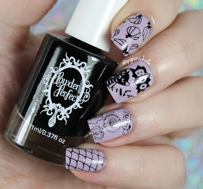 Wet 'n' Wild Lay Out in Lavender Powder + Perfect Black stamping polish | Powder Perfect Halloween Stamping Plate