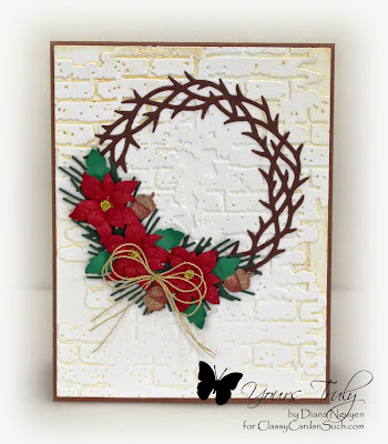 Diana Nguyen, Christmas, wreath, poinsettia, Impression Obsession, card