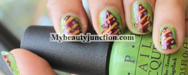 Christmas tree manicure: Freehand nail art with O.P.I. polishes