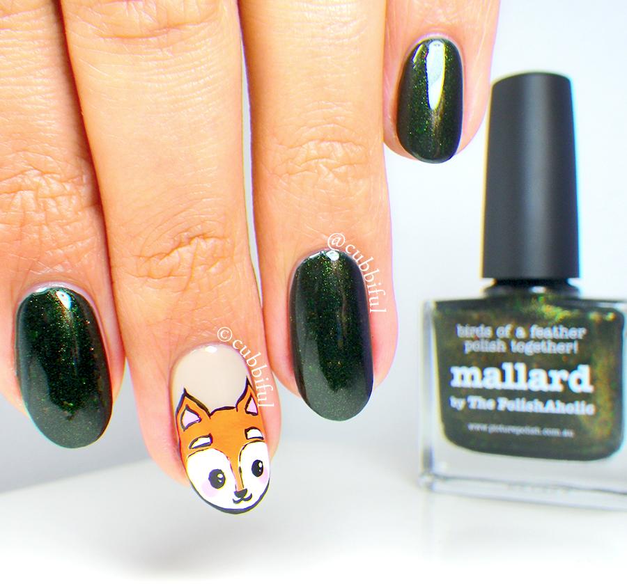 cubbiful: Fox Nail Art and piCture pOlish Mallard