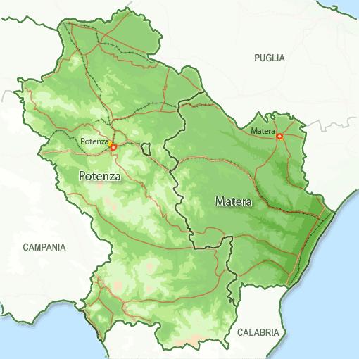 Cartina Geografica Regione Basilicata.Mappa Della Citta Di Provincia Regionale Italia Cartina Politica Della Basilicata