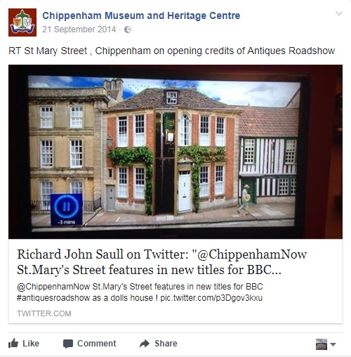 Tweet showing Chippenham in the Antiques Roadshow opening credits