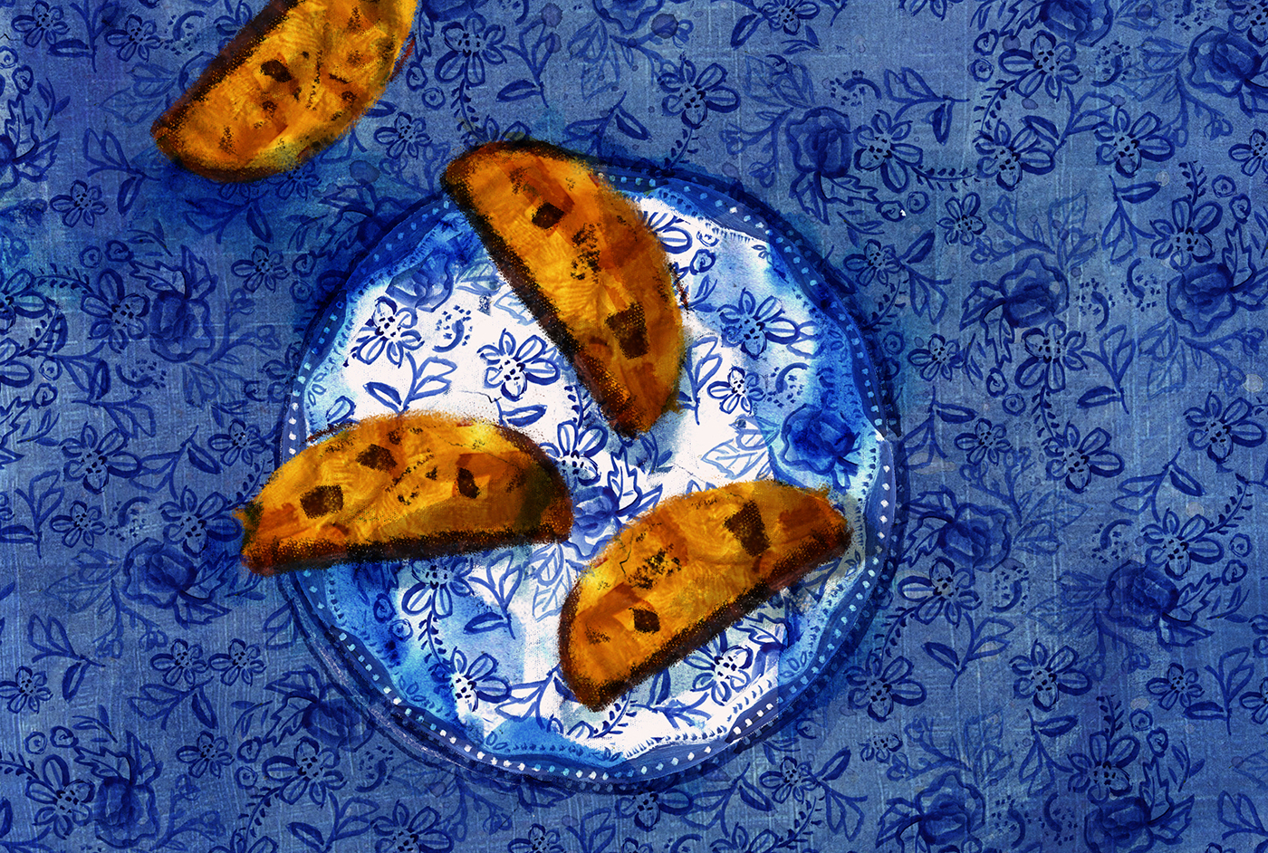 Tu B'Shevat Biscotti, Honey, Date, Almond Biscotti, breakfast, Minty's Table, Lauren Monaco Illustration, Jewish Holidays, tu-bshevat, tu b'shvat