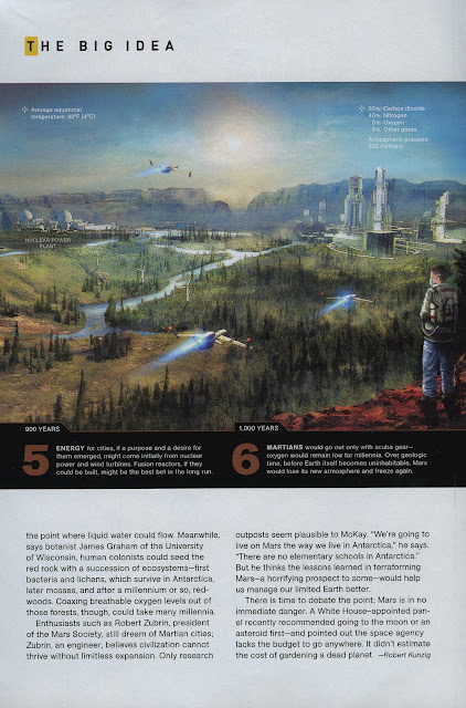 Terraforming Mars - stages 5-6 (National Geographic, feb. 2010, pg.32)