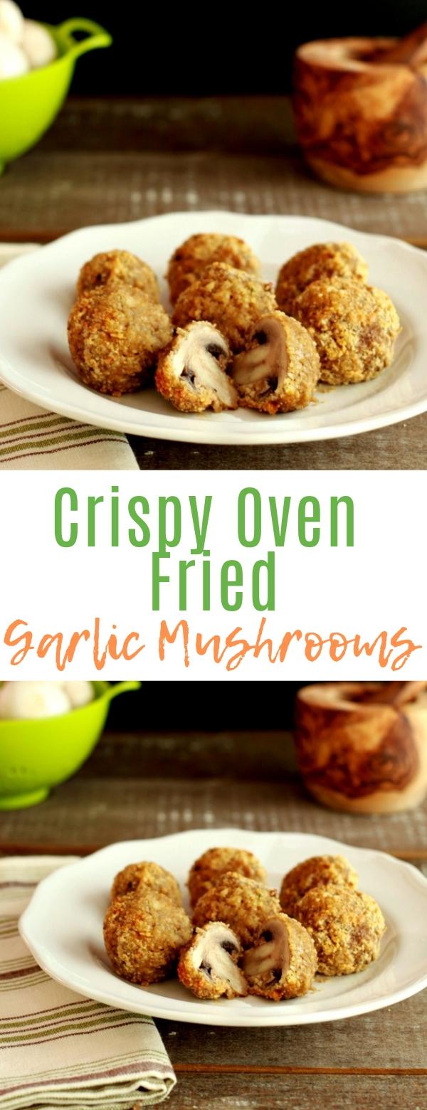 Crispy Oven Fried Garlic Mushrooms #mushroom #vegan