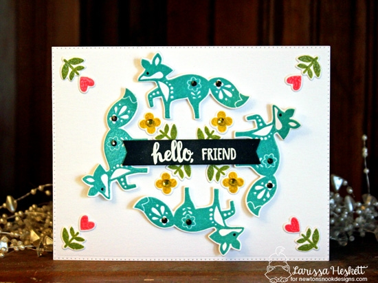 Hello Friend Fox Card by Larissa Heskett | Cottage Garden Stamp Set by Newton's Nook Designs #newtonsnook