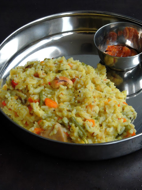 Mixed Vegetable Pongal, One pot Vegetable pongal