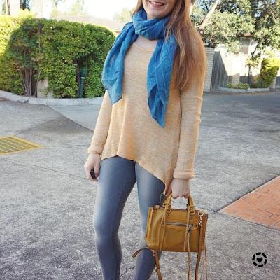awayfromtheblue instagram mustard knit blue teal alexander mcqueen skull scarf, skinny jeans