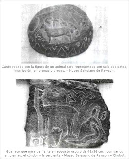 horse guanaco and symbols on tehuelche stone