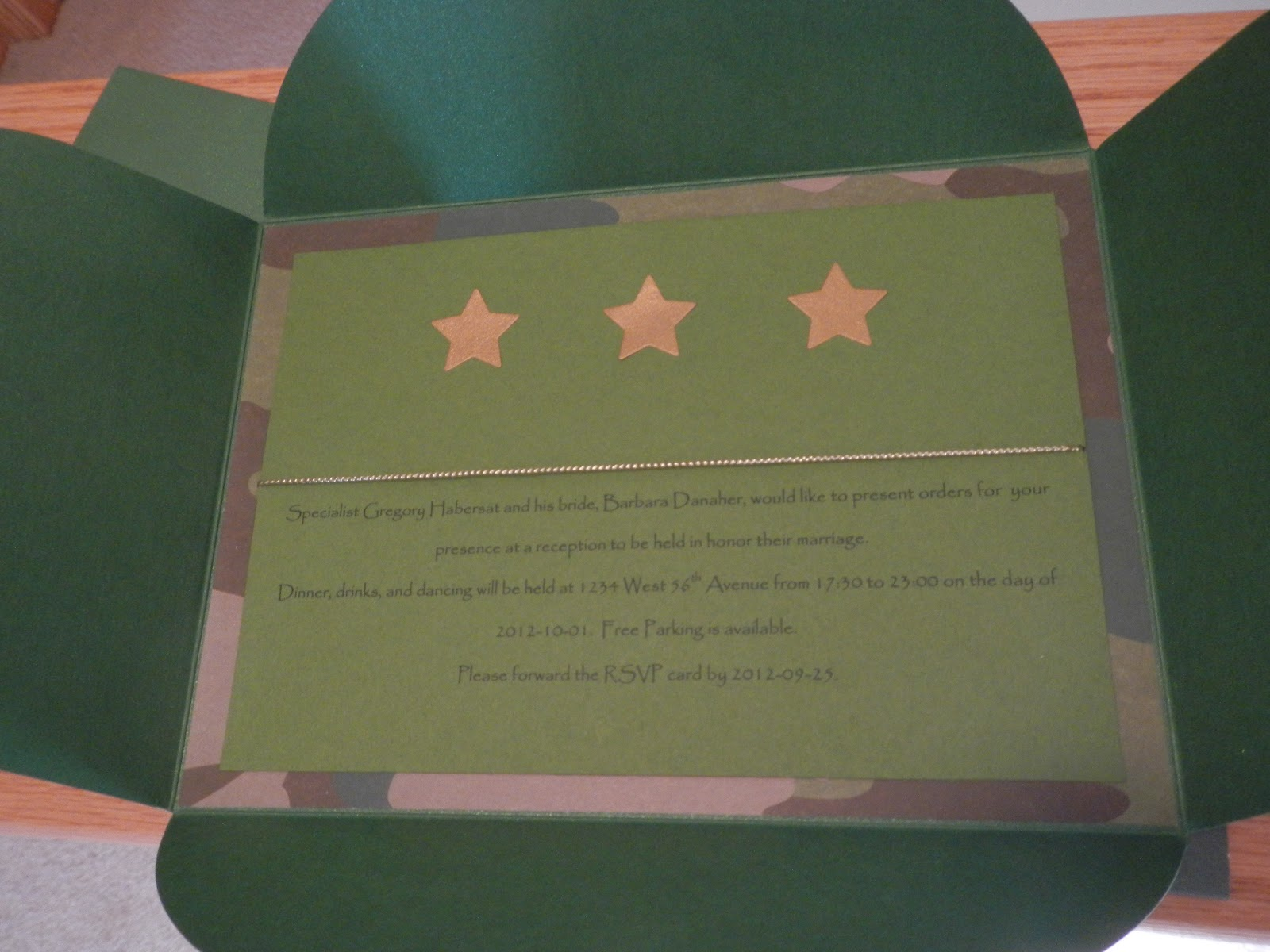 Army Wedding Invitations: Hand Made Cards: Handmade Military Greeting Cards
