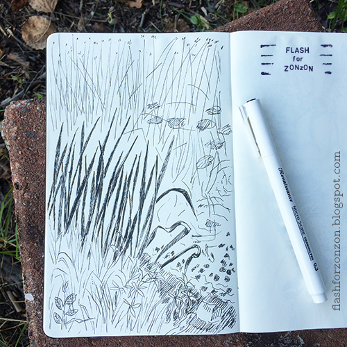 lakeside inkdrawing sketchbook