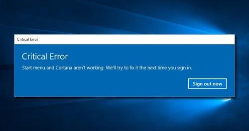 Mengatasi Critical Error Start Menu And Cortana Aren't Working