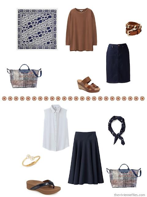 rust tunic with denim skirt, white sleeveless top with navy seersucker skirt