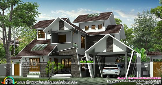 Unique sloping roof house plan
