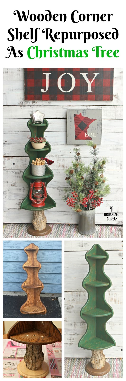 Wooden Corner Shelf Re Purposed As A Christmas Tree