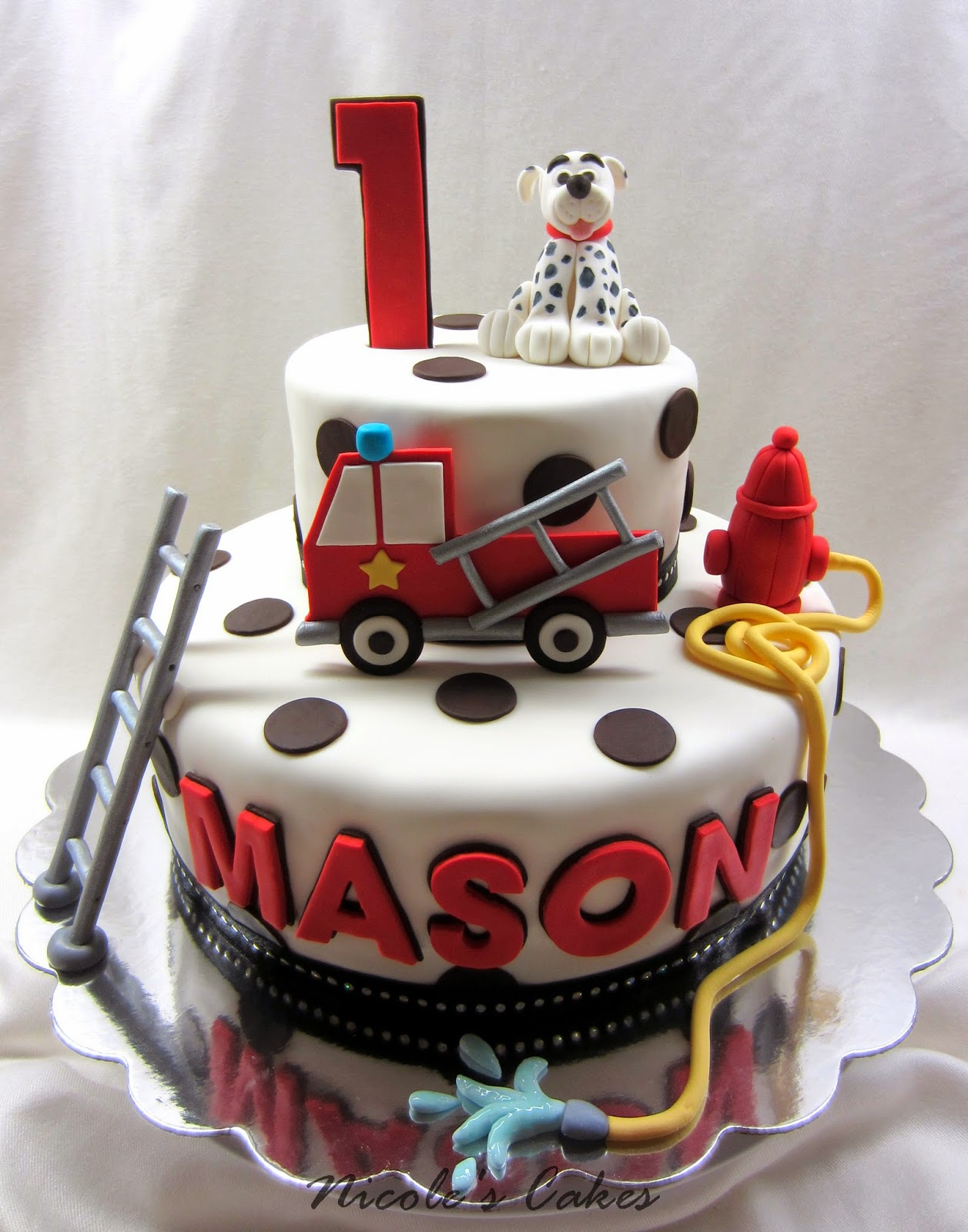 Sensational Confections Cakes Creations Fire Truck Dalmation 1St Funny Birthday Cards Online Alyptdamsfinfo
