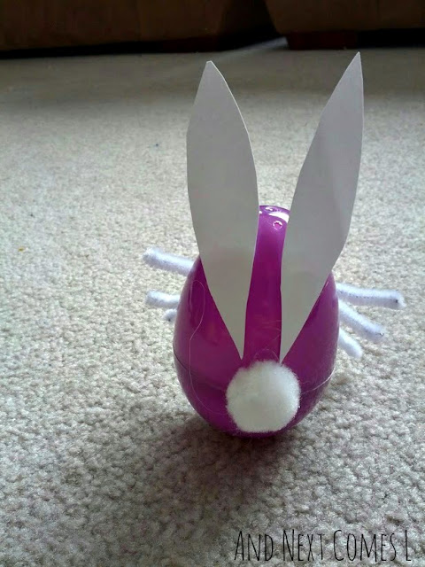 Wobbly Easter egg bunny craft for kids from And Next Comes L