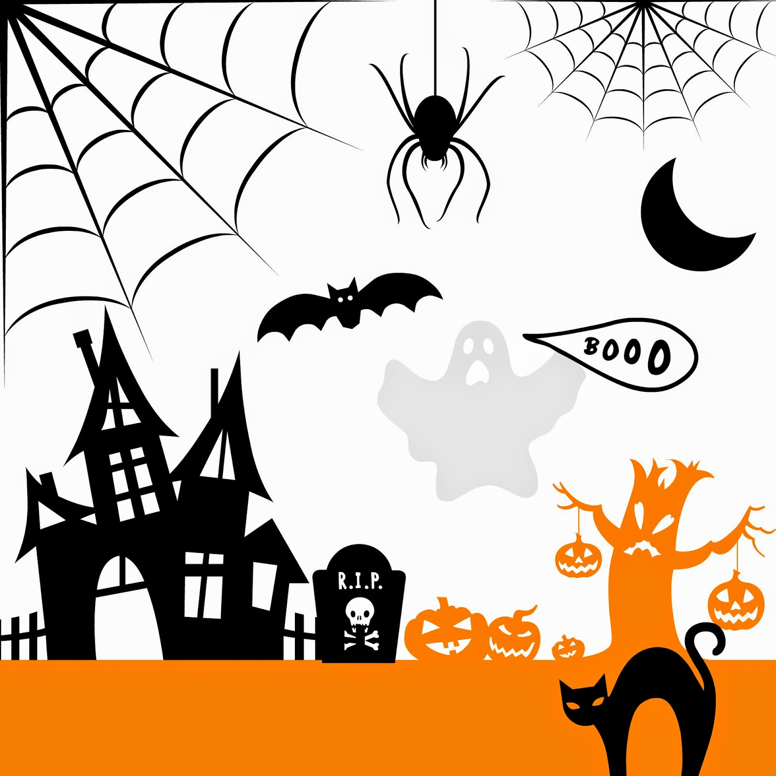 Silhouette, friendly, free, halloween designs