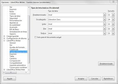 LibreOffice Writer - Cambiar fuente predeterminada
