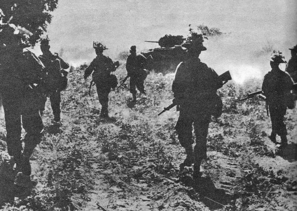 1st Battalion and tanks attacking at Singhu, 1945