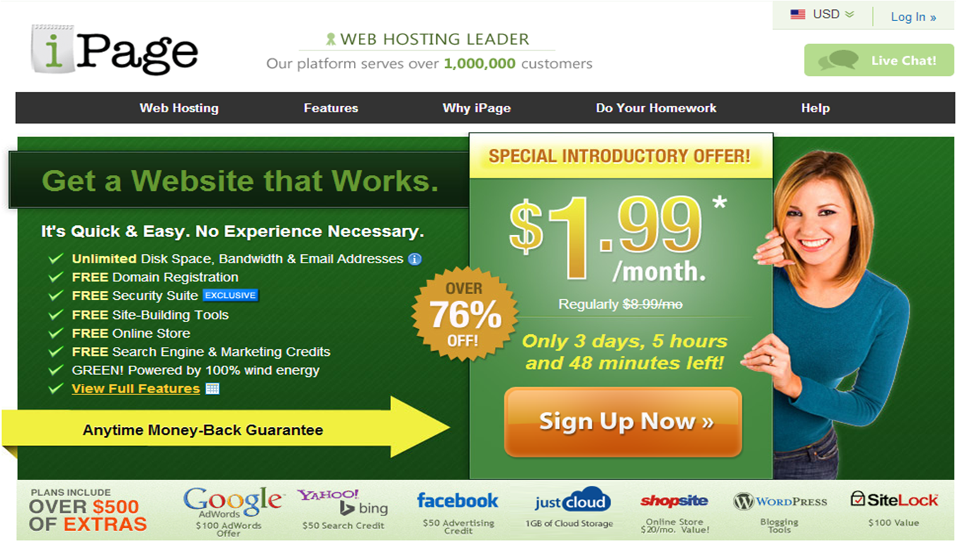 unlimited ipage hosting @ $1.99