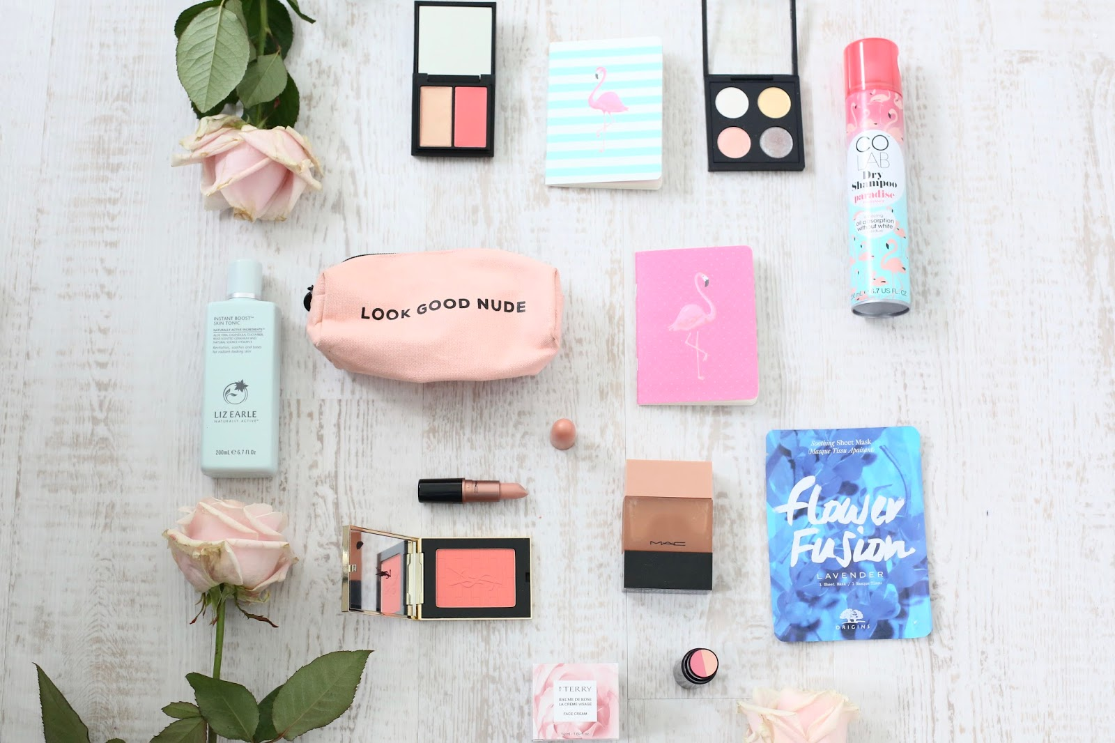 spring beauty items flatlay