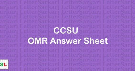 CCSU Answer Key 2019: CCS University OMR Answer Sheet