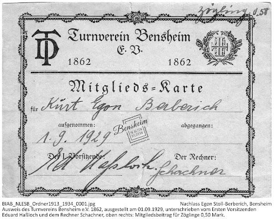 Mitgliedsausweis von Egon Stoll-Berberich, Turnverein Bensheim e.V. 1862, 01.09.1929, Nachlass Egon Stoll-Berberich, Bensheim