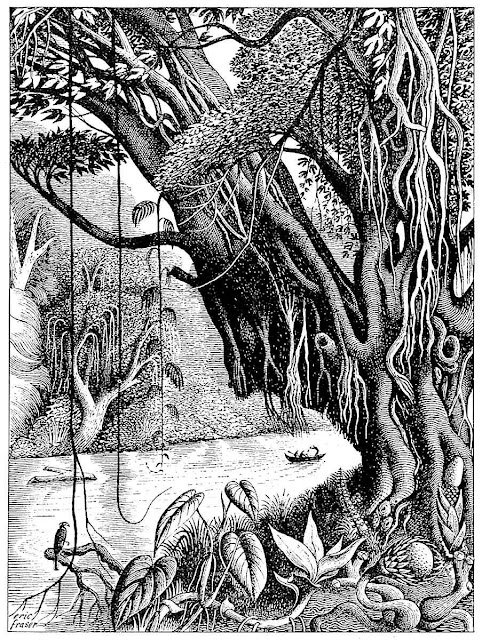 Eric Fraser illustration of a jungle river