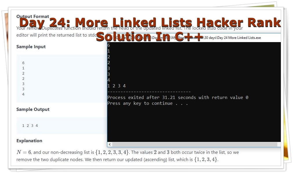 Day 24 More Linked Lists Solution In C++