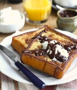 cinnamon french toast recipe with dark chocolate sauce and vanilla whipped cream