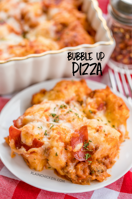 Bubble Up Pizza - only 4 ingredients and ready in under 30 minutes! Refrigerated biscuits tossed in pizza sauce,topped with mozzarella and your favorite pizza toppings. We LOVE this casserole! We make this at least twice a month!! #pizza #pizzarecipe #easydinner #casserole