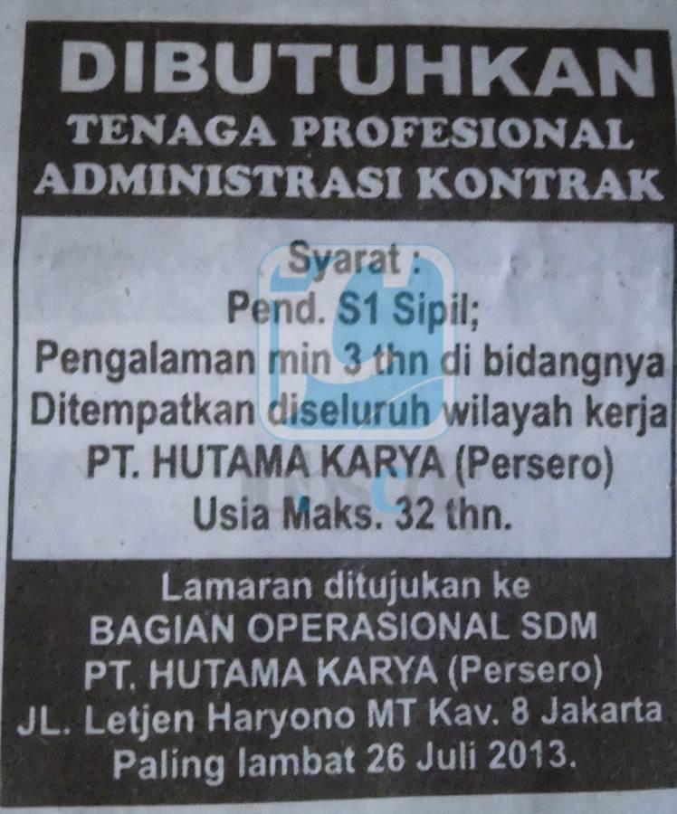 Rekrutmen Administrasi di PT Hutama Karya (Persero) Juli 2013 - Rekrutmen Lowongan Kerja Online ...