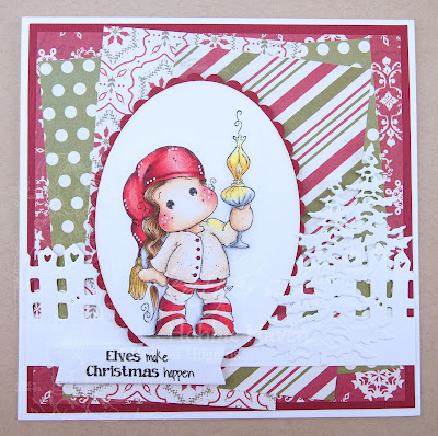 Heather's Hobbie Haven - Tilda with Christmas Lamp  Card Kit