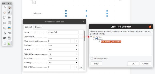 LibreOffice edit text box assign label
