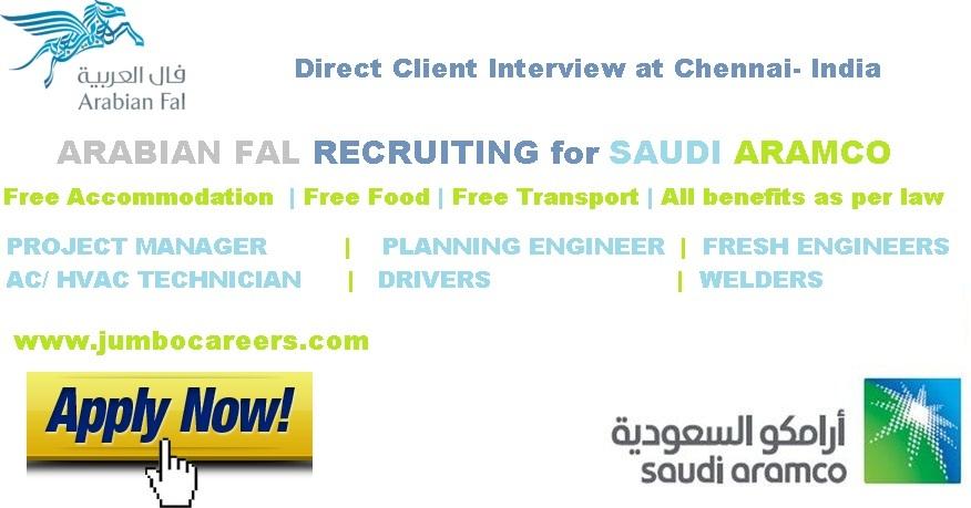 Free Recruitment- SAUDI ARAMCO 2018 | Free Accommodation