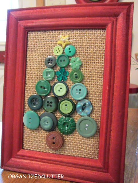 Upcycled Framed Button & Fabric Christmas Decor