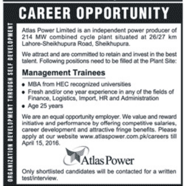 Management Trainee Jobs in Atlas Power for Fresh MBAs