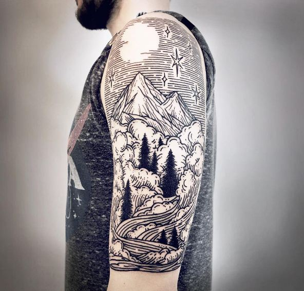 50 interesting mountain tattoos ideas and designs 2018 for Mountain tattoo sleeve
