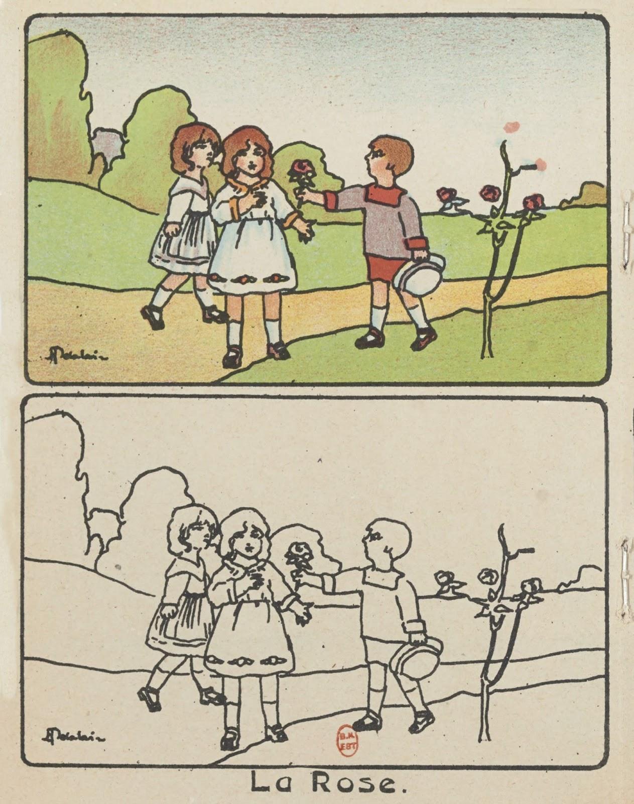 Mon enfance album  colorier par Henriette Delalain 1928 © Gallica