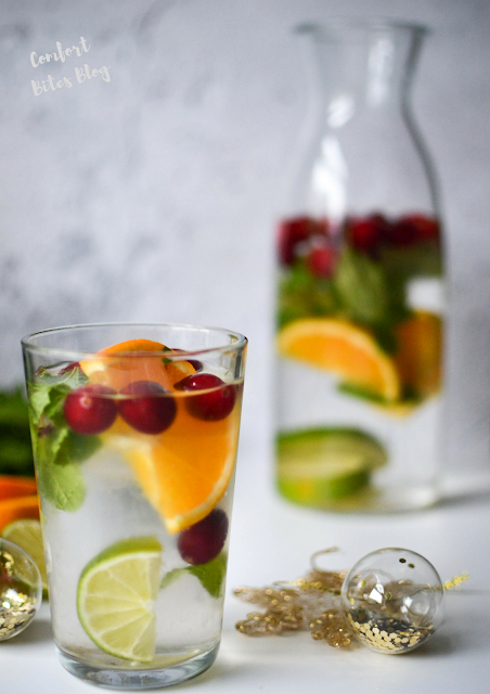 paleo AIP infused water christmas mocktail non alcohol drink