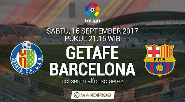 Barcelona akan mencoba melanjutkan tren kasatmata dikala menghadapi Getafe pada pertandingan  Berita Terhangat Prediksi Bola : Getafe Vs Barcelona , Sabtu 16 September 2017 Pukul 21.15 WIB
