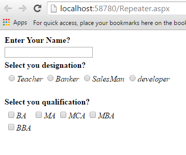 Create dynamic control inside Repeater using placeholder in Asp Net